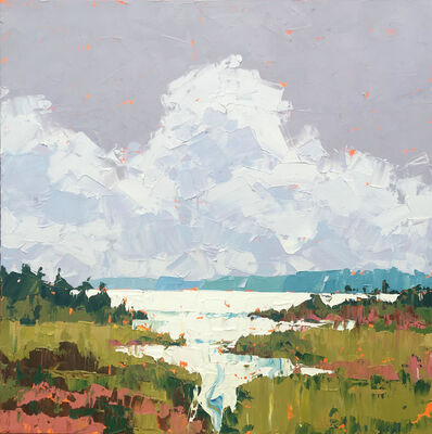 "Paul Norwood, '""In the Reeds"" impasto acrylic painting of gray sky and clouds over a green marsh', 2020"