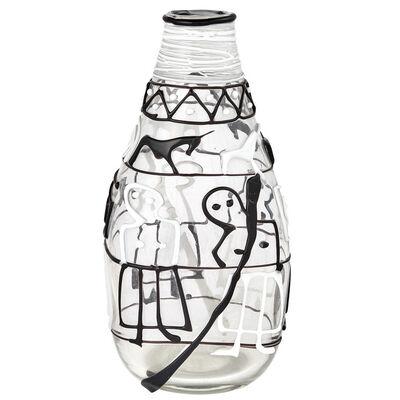 Fulvio Bianconi, 'Teatrino Iridized Glass Vase with Black, White and Burgundy Applications'