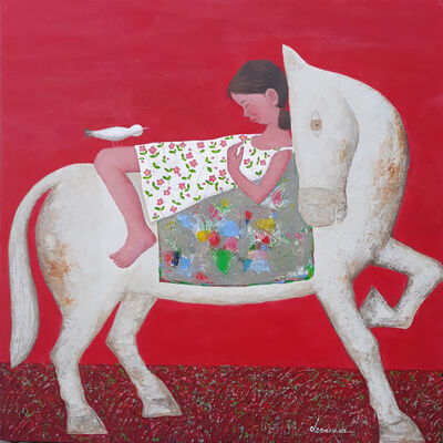 "Kui Dae Lee, '""Voyage"" -- zen, quietude, symbolism, spiritual, Asia, imagery, reflection, beauty, dream, peace, girl, bird, horse', 2021"