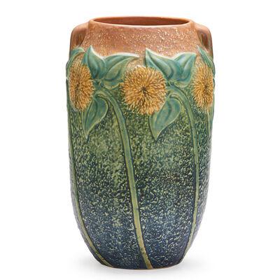 """Roseville Pottery, '10"""" Sunflower Vase, Zanseville, OH', 1930"""