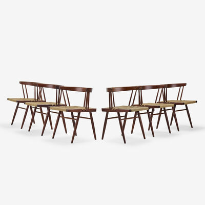 George Nakashima, 'Grass-Seated chairs, set of six', c. 1967