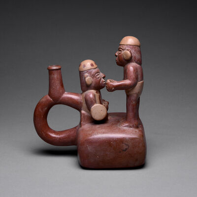 Unknown Moche, 'Moche Stirrup Vessel Depicting Two Warriors', 1 A.D. to 400 A.D.