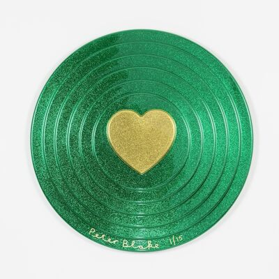 Peter Blake, 'Gold Heart on Green Target (metal flake)', 2017