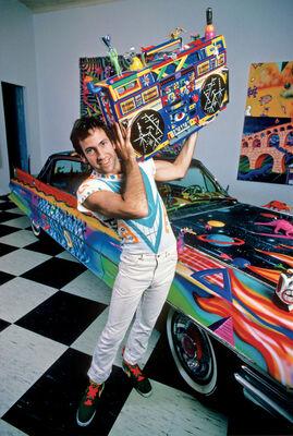Allan Tannenbaum, 'Kenny Scharf, Boombox and Cadillac', 1983