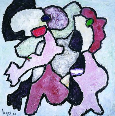 Oswaldo Vigas, 'Composición con dos personajes ', 2002