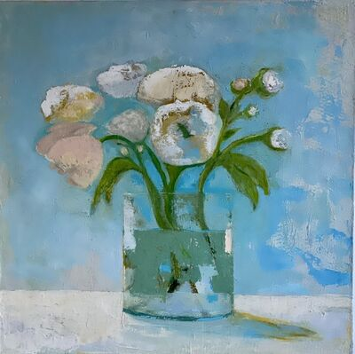 "Anne Harney, '""Late Morning"" still life oil painting of pink peonies with blue background', 2020"