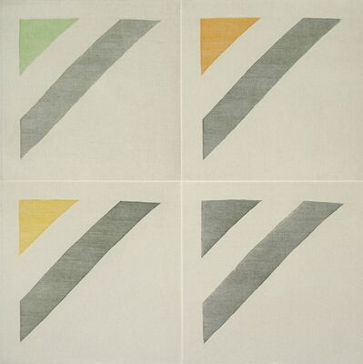 Ruth Laskey, 'TWILL WEAVE GRID (OXIDE GREEN, SPRING GREEN, INDIAN YELLOW, PERMANENT YELLOW LAKE', 2015