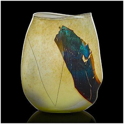 William Morris (b.1957), 'William Morris Original Hand Blown Glass Shard Vessel Vase Signed Modern Artwork', 1980