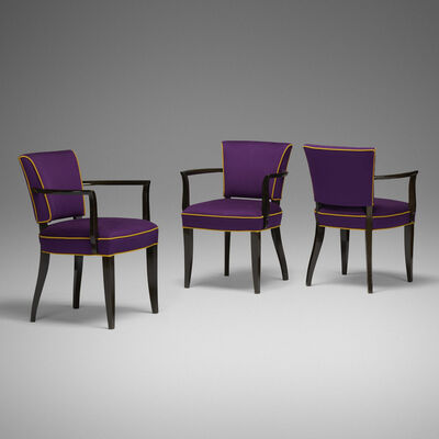 Eugène Printz, 'armchairs, set of three', c. 1935