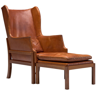 Mogens Koch, 'Wingback Lounge Chair in Mahogany and Cognac Leather', Design 1936-manufactured 1970