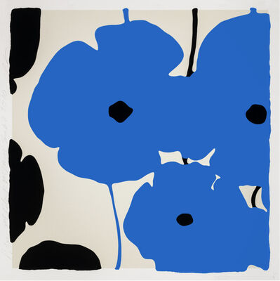 Donald Sultan, 'BLUE & BLACK POPPIES, FEB 3 2020', 2020