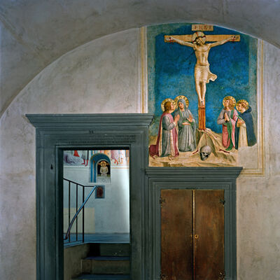 Robert Polidori, 'Crucifixion with the Virgin and Sts Cosmas, John the Evangelist and Peter Martyr by Fra Angelico, Cell 38 (foreground), Adoration of the Magi and Man of Sorrows, by Fra Angelico, Cell 39 (background) Museum of San Marco Convent, Florence, Italy', 2010