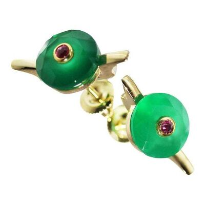 Unknown Designer, '9 Karat British Yellow Gold Set with Green Chalcedony and Ruby Earring Studs', 2010