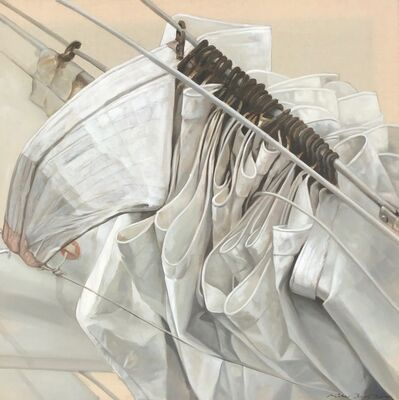 "Michel Brosseau, '""Les Anneaux"" photorealist oil painting of a folded white sail and rings on exposed linen', 2008-2010"
