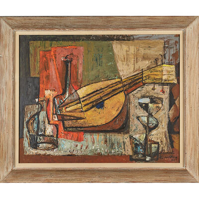 Frederic Weinberg, 'Untitled Painting (Still Life With Bottles And Mandolin), Philadelphia, PA', 1956 (framed)