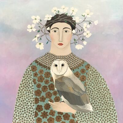 "Leslie Barron, '""Afternoon Visit"" Mixed Media painting, Owl and Woman with Floral Crown in Pastels', 2017"
