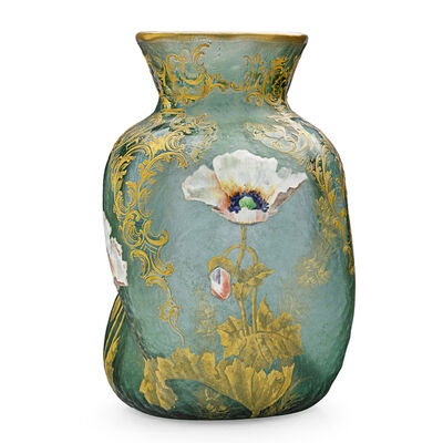 Mont Joye, 'Large Twisting Vase With Poppies, France', Early 20th C.