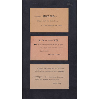 Tristan Tzara, 'Trois cartes imprimées Dada'