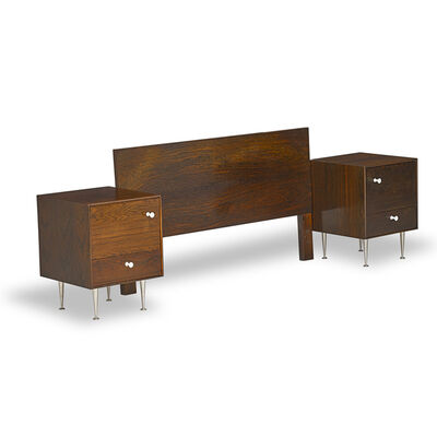 George Nelson, 'Pair of Thin Edge nightstands and full-sized headboard, Zeeland, MI', 1950s