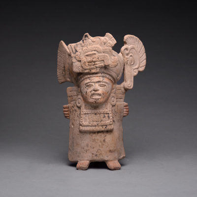 Unknown Pre-Columbian, '	Mayan Terracotta Whistle in the Form of a Priest ', 500-900