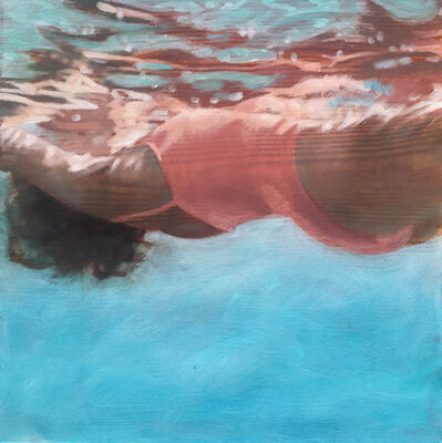 Carol Bennett, '''Salmon-Small and Rosey (Paper)'' Oil painting of a woman in an orange swimsuit in a blue pool', 2019