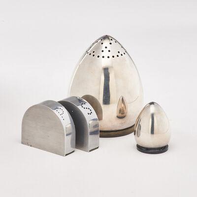"""Evald Nielsen, 'Four salt and pepper shakers: Nielsen sterling egg-shaped set, and Lescaze """"Duet"""" set'"""
