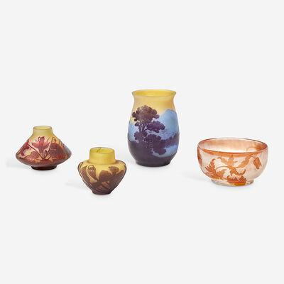 Emile Gallé, 'Group of Four Floral or Landscape Vases', circa 1900