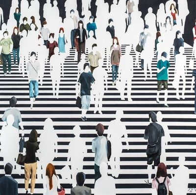 "Martta García Ramo, '""Elementos Discordantes"" oil painting of pedestrians walking on a black and white crosswalk', 2019"