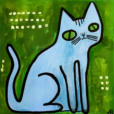 Jessica JH Roller, 'Blue Cat on Green', 2018