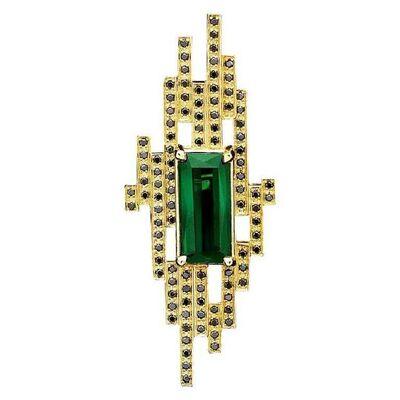 Unknown Designer, '18 Karat Yellow Gold with 4.93 Carat Tourmaline and Black Diamond Cocktail Ring', 2018