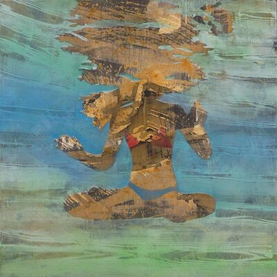 """Carol Bennett, '""""Action Figure"""" Abstract oil painting of a woman in lotus pose in a blue pool', 2010-2018"""