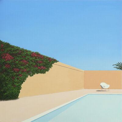 Magdalena Laskowska, 'Rose garden by the pool - landscape painting', 2019