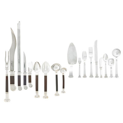 Hector Aguilar, 'Eight-piece assembled Aztec flatware set for twelve with additional pieces and ten serving pieces (118 pcs total), Mexico', 1940s-1962