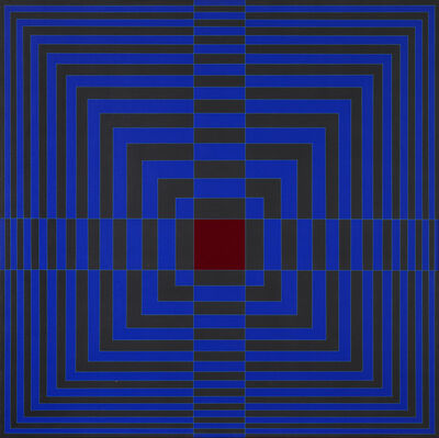 Edna Andrade, 'Blue Cross With Red (Cruz azul con rojo)', 1968