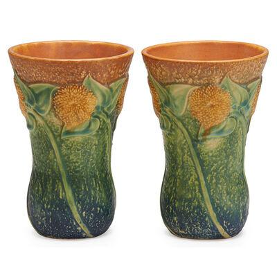 """Roseville Pottery, 'Two 7"""" Sunflower Vases, Zanesville, OH', 1930"""