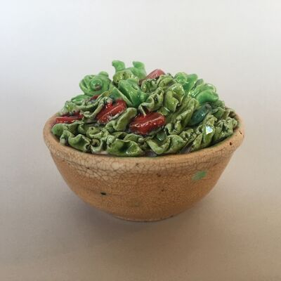 David Gilhooly, 'Green Salad with Frogs', 1989