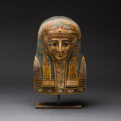 Unknown Egyptian, 'Egyptian Cartonnage Mask of a Man Wearing an Elaborate Painted Headdress', 664 BC to 525 BC
