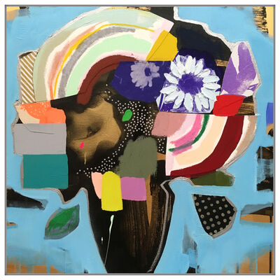 Emily Filler, 'Vase of Flower (Electric Blue + Rainbow)', 2019