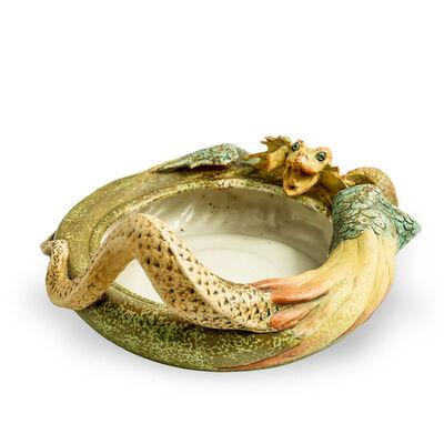 Riessner, Stellmacher & Kessel, 'Riessner, Stellmacher & Kessel Amphora Turn- Teplitz Bowl with Dragon designed  1899-1900', ca. 1899