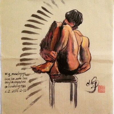 Liu Zheng, 'Aquarel on bamboo paper based on Instagram;@ig-muscleguys;LZ2016-2-10', 2016