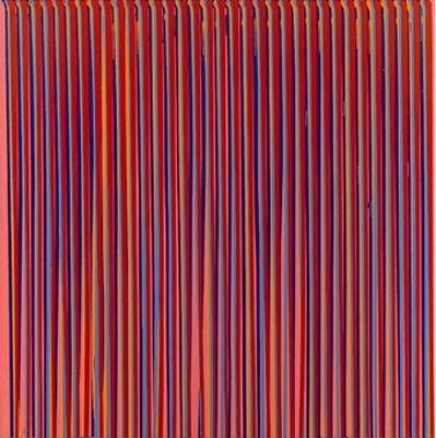 Ian Davenport, 'Poured Lines - Dark Pink, Blue, Orange, Grey Blue, Red', 1993