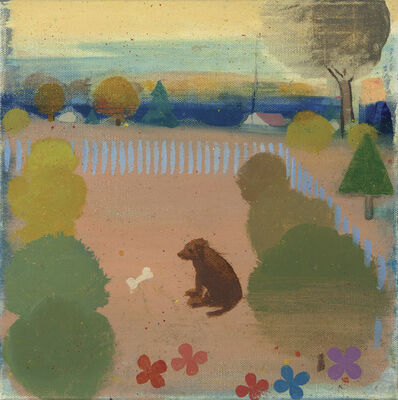 Tollef Runquist, 'Dog with Flowers '