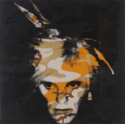 Gavin Turk, 'Camouflage Fright Wig Silver and Orange on Taupe', 2007