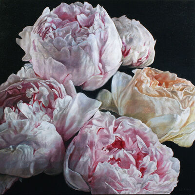robert lemay, 'Peonies and rose', 2019