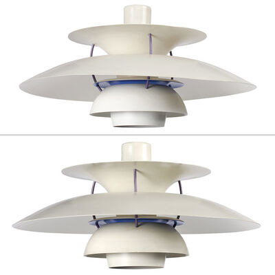 Poul Henningsen, 'Pair of Poul Henningsen Enameled Aluminum PH 4/3 Ceiling Pendants, Manufactured by Louis Poulsen, Denmark'