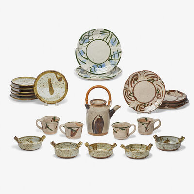 Betty Woodman, 'Teapot, four teacups, two dinner plates, four lunch plates, six butter plates, and five small two-handled bowls, USA'
