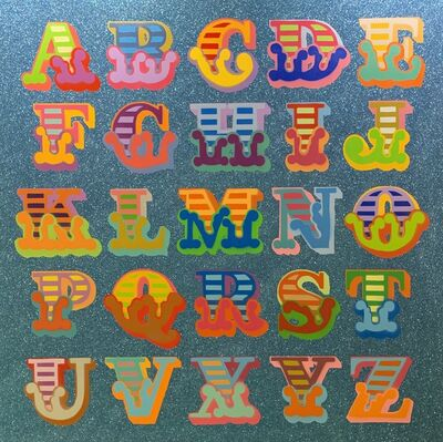 Ben Eine, 'Alphabet in Circus Font and Blue Diamond Dust Glitter', 2018