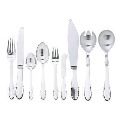 Georg Jensen, 'Six-piece Beaded flatware set for twelve plus three serving pieces, Denmark', after 1945