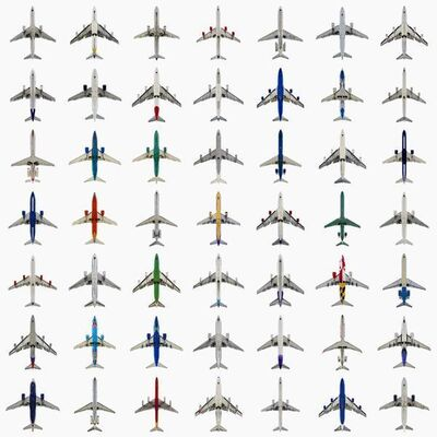 Jeffrey Milstein, 'Grid Typology 49 Commercial Jets', 2007