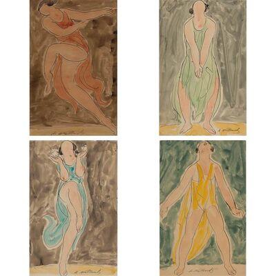 Abraham Walkowitz, 'Isadora Duncan (Red); Isadora Duncan (Green);  Isadora Duncan (Blue); Isadora Duncan (Yellow)'